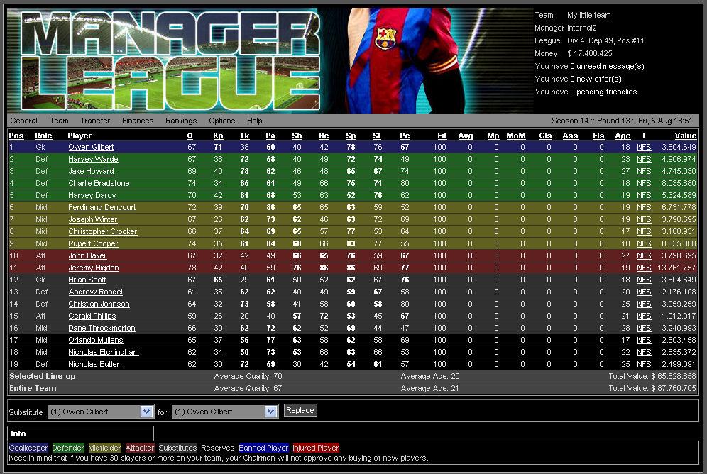 ManagerLeague : Online football manager : The ManagerLeague